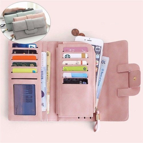 Women Stylish Large Capacity Multi-slots Button Hand Long Wallet 5.5 inch Phone Bag Card Holder