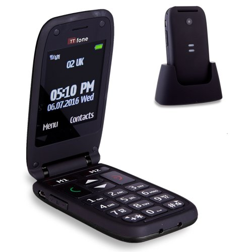 TTfone Meteor Big Button Flip Clamshell Vodafone Pay As You Go UK SIM-Free Mobile Phone - Black