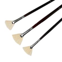3 PCS Fan-shaped Paintbrushes Long Handled Brush Sets Painting Tools
