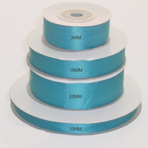 Turquoise double faced satin ribbon multiple widths