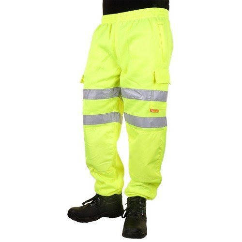 Click BSJBSY4XL Hi Vis Satin Yellow Sweat Pants Jogging Bottoms 4XL