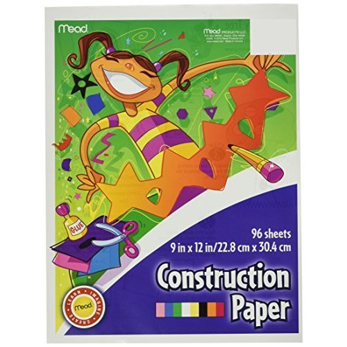 Mead Construction Paper 96 Sheets 9 x 12 Inch Assorted Colors 53336