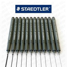 Staedtler Pigment Liner Fineliner Pin- Black Ink - 12 Nib Sizes: 0.05mm to 2.0mm