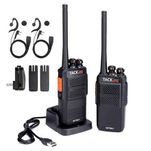 Walkie Talkie - 2 pcs, Tacklife MTR01 Two-Way Radio with Upgraded Original Earpieces Rechargable Li-ion Battery Handheld Transceiver 16 Channels...