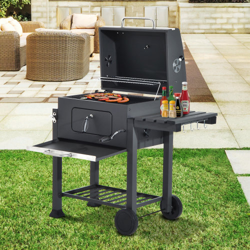 Outsunny Charcoal BBQ Trolley Grill Portable Smoker w/ Shelf Wheels Built In Thermometer