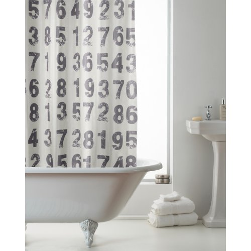 Country Club Hookless Shower Curtain, Numbers