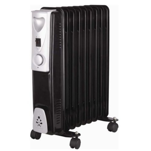 Blac 2kw 9-fin Slimline Oil Filled Radiator -  oil filled radiator black electric kingavon bbor111 9fin slimline portable heater caravan 2kw
