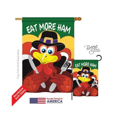 Breeze Decor 13034 Thanksgiving Eat More Ham 2-Sided Vertical Impression House Flag - 28 x 40 in.