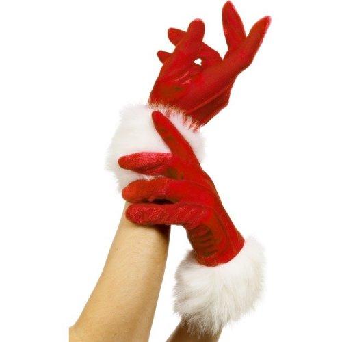 Red Ladies Santa Gloves -  gloves santa christmas red ladies fancy dress miss accessory womens