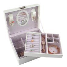 Jewelry Box Necklace Organizer Rings Display Earrings Storage Case-White