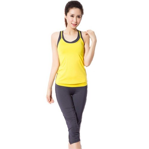 Yellow Sexy Yoga Apparel Sexy Yoga Pant Gym Clothes Dance Outfit Fitness Suit