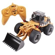 RC Construction Front Loader Die-Cast Model Truck 1:18 Bulldozer with Lights 2.4GHz Sync System for Multi Players