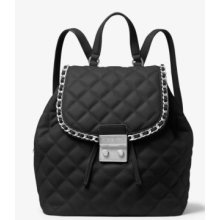 Michael Kors Carine Medium Quilted-Leather Backpack - Black - 30T6TCCB2L-001