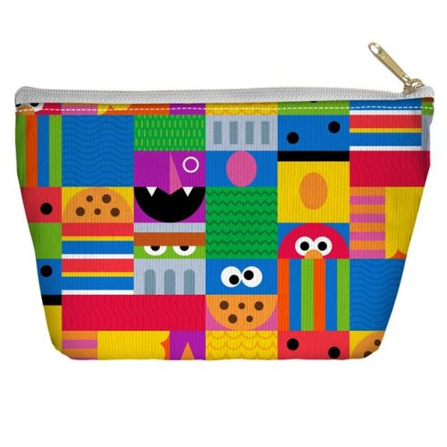 Trevco Sportswear SST269-PCH2-8.5x6 Sesame Street & Squares Accessory Pouch, White - 8.5 x 6 in.