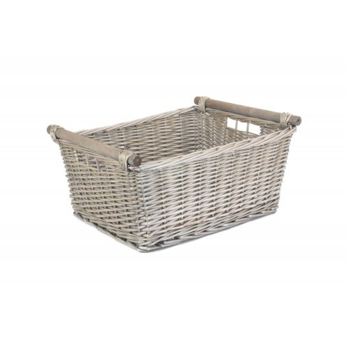 Extra Large Grey Wash Wooden Handled Storage Basket