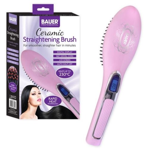 Bauer Pink Professional Hair Care Ceramic Heated Hair Straightening Brush