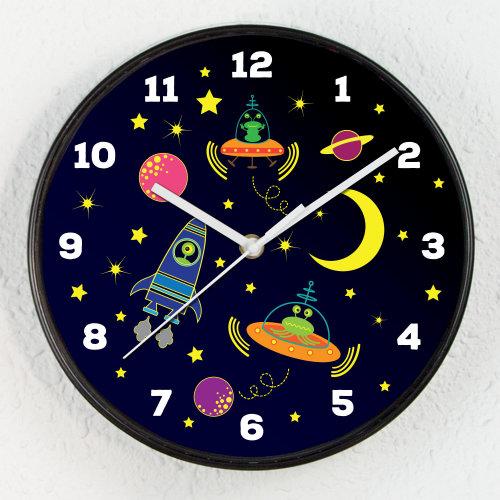 Baby Boys Room Happy Galaxy Children Clock