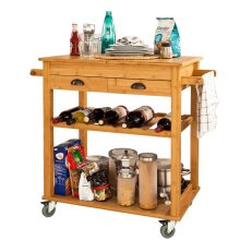 SoBuy® FKW08-N, Bamboo Kitchen Storage Trolley Serving Trolley Folding Wotktop