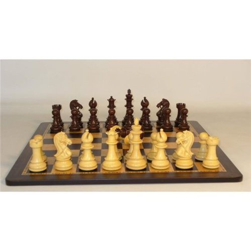 WW Chess 45RBKDQ-EBM Rosewood Bridle Knight Triple Weighted Ebony Birdseye Maple Inlaid Chess Board - Round Edge 2.2 in. Square
