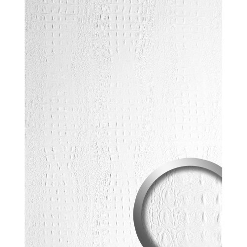 WallFace 13407 CROCO Wall panel leather wall shop decoration white | 2.60 sqm