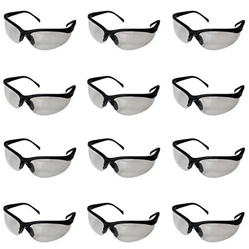 Kurtzy 12 Pack of Black Clear Lens Protective Safety Glasses Goggles by Bulk Set of Eyewear for Use in the Chemistry Lab, on Building Sites, with...