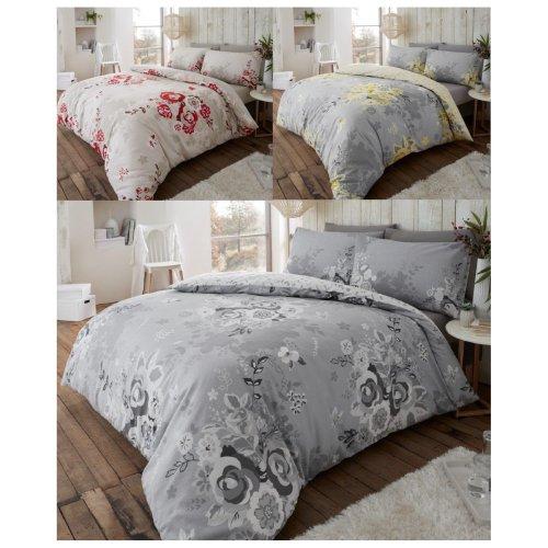 Eaton Flowers Flannelette Duvet Cover Brushed Cotton Floral Bedding Set