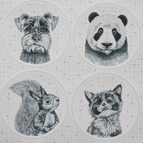 East of India ANIMAL Portraits Sticker Sheet Craft - Badger / Sheep /Panda / Pug x 40