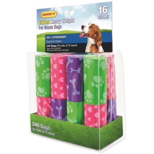 Rhode Island Textile 4767307 Dog Waste Assorted Color Bags, 240 Count - 16 Rolls