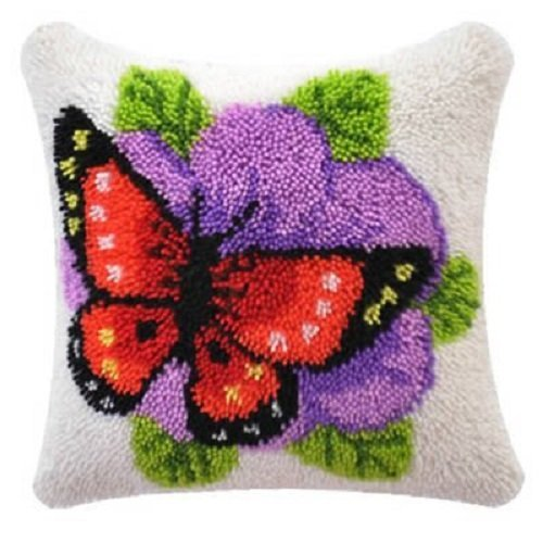 """Latch Hook Complete Cushion Cover Kit""""Butterfly and Flower"""" 43x43cm"""