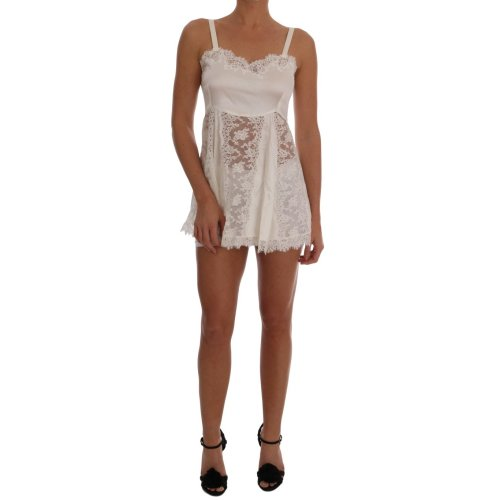 Dolce & Gabbana White Silk Lace Lingerie Dress