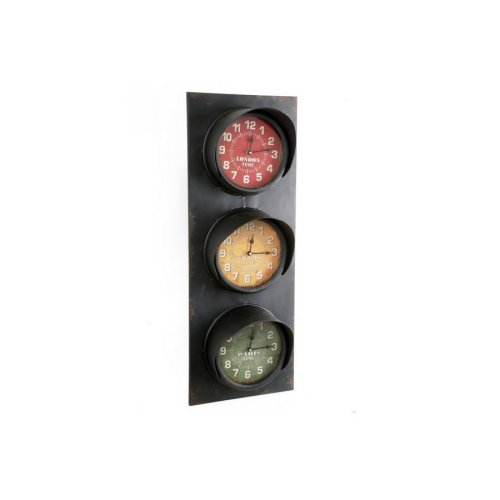 83X30Cm Retro Traffic Light Wall Hanging London New York Paris World Clock