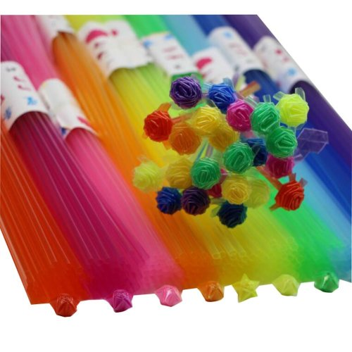 600 PCS Plastic Lucky Star Folding Craft 10 Colors