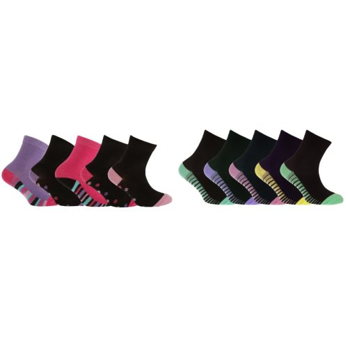 Street Essentials Children/Girls Pattern Contrast Heel And Toe Socks (Pack Of 5)