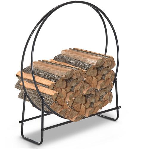 HOMCOM Firewood Log Rack Steel Storage Stand Holder Solid Hoop Black Outdoor and Indoor 102 x 40 x 114 cm