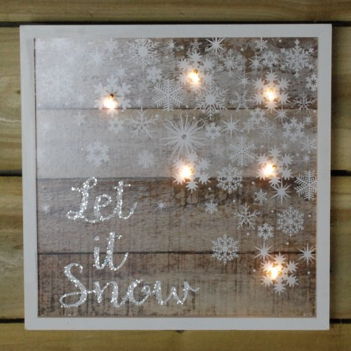30 x 30CM Battery Powered Warm White LED lit Frame - Let It Snow