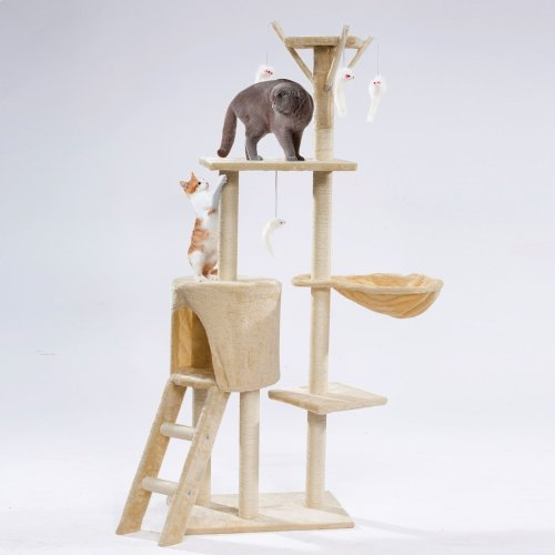 Details about  Cat Tree Scratching Climbing Post ladder Jumping Sleeping Pet Kitten Play Toy[Light Cream]