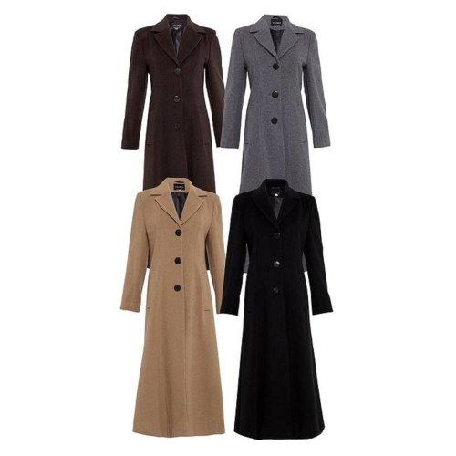 De La Creme Women's Longline Slim Fit Wool Coat