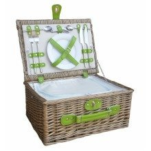 Green 2 Person Fitted Picnic Basket with Zipped Chiller