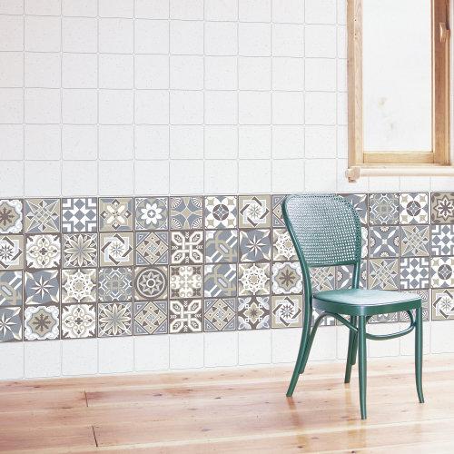 Walplus Tile Limestone Spanish Tiles Wall Sticker Decal (Size: 10m x 10cm @ 24pcs)