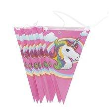 TRIXES 10PC Unicorn Triangular Flag Garland for Kids Parties