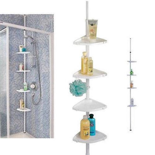 White 4 Tier Adjustable Telescopic Corner Shower Bathroom Shelf Organiser Caddy