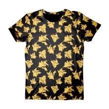Pokemon Adult Male Pikachu All-Over Print T-Shirt L Size - Black