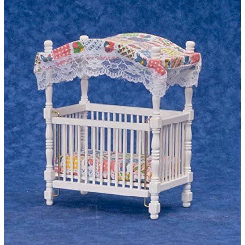 Dollhouse Miniature 1 12 Scale White Canopy Crib D5293