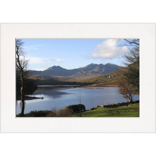 Mount Snowdon from Plas-y-Brenin Lake Wales Print in a Textured Card Picture Mount to put into your own frame