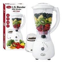 1.5L Blender with Grinder 400Watt 4 Speed Pulse- Grinder Attachment Idela For Crushing Function Blender, Juicer & Grinder
