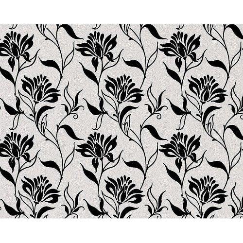 EDEM 939-30 heavyweight flower non-woven wallpaper natural white black 114 sq ft
