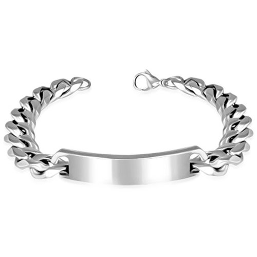 Urban Male Polished Stainless Steel Curb Link Chain ID Bracelet