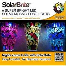 Solar Brite Deluxe Solar Mosaic Border Garden Post Lights Eco friendly Save on Energy