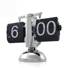 Retro Flip Down Desk Time Big Clock Metal Stand Internal Gear Operated