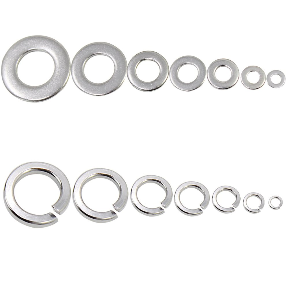 HSeaMall Stainless Steel Flat Washer and Lock Washer Spring washers  Assortment M2-M10 510PCS